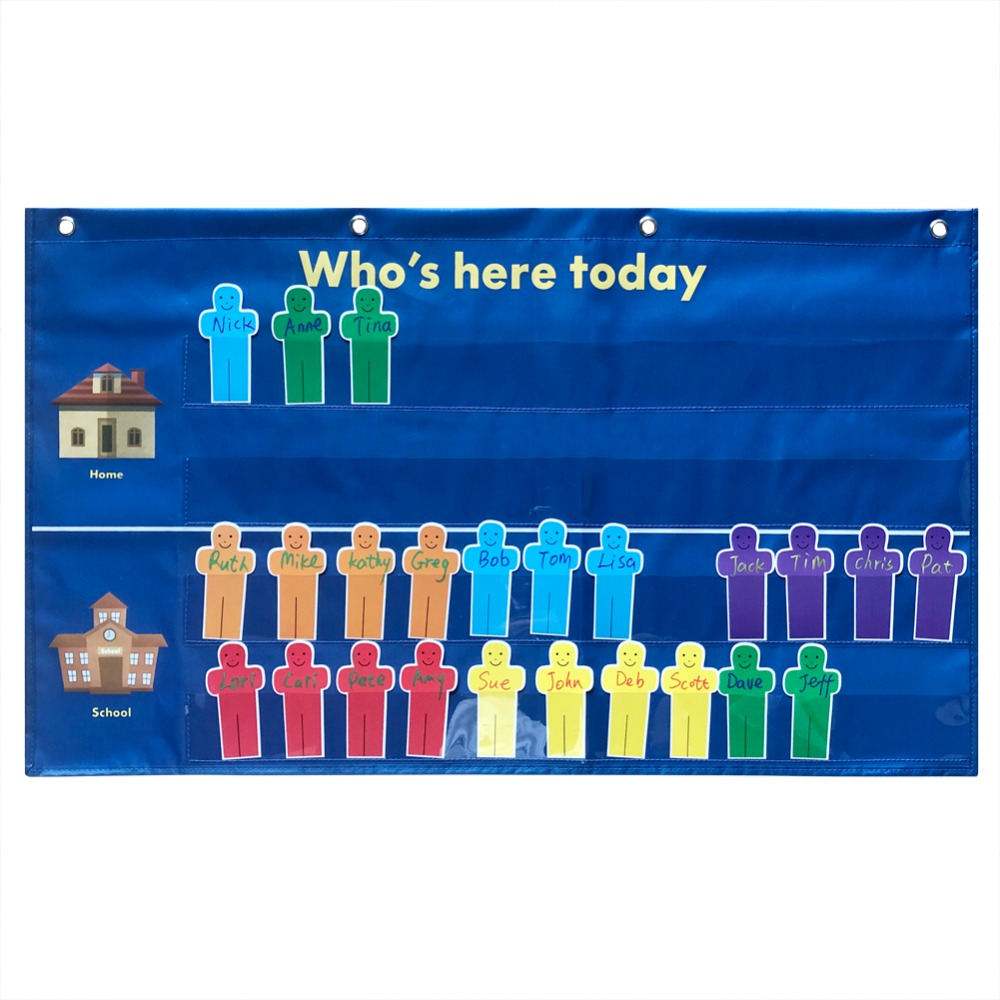 Godery Who Is Here Today Attendance Chart Classroom Multiuse Pocket Chart With 36 Replacement Cards