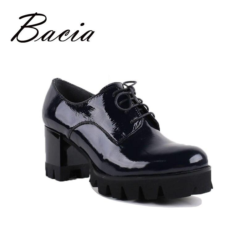 ФОТО Bacia Black Pumps Round Toe Lack-up High Heels Women Botas De Salto Alto Black-Patent-Leather-Boots Sapatos De Inverno VB006