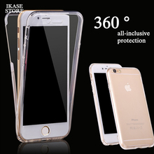 цена на 360 Degree Full Body Clear Phone Case For iPhone 7 6 8 Plus X 5 5S SE  Transparent Soft Tpu Cover For iPhone 8 6S 7 Plus Case