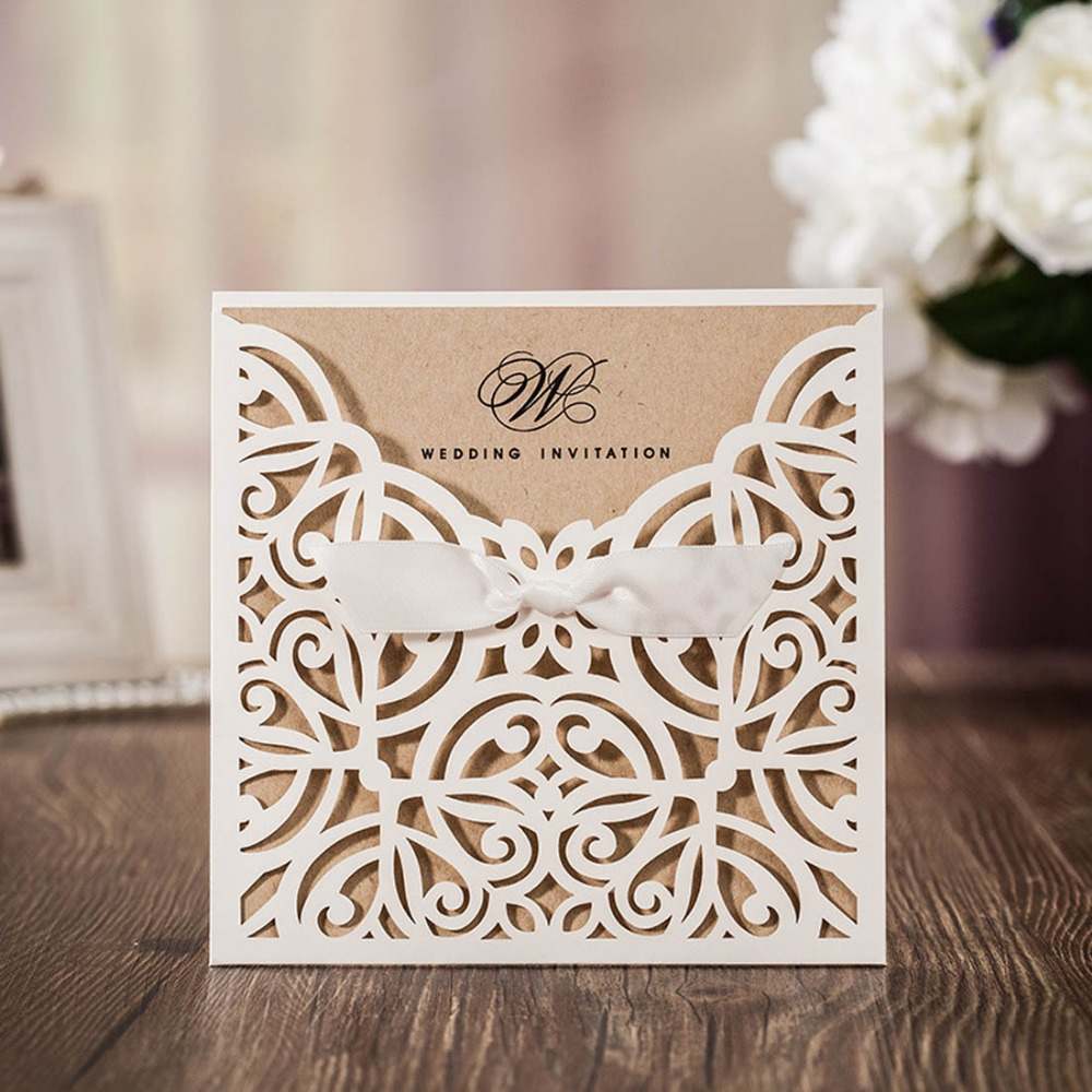 50pcs lot Ivory Laser Cut Wedding Invitations Cards With Bowknot Ribbon for Marriage Birthday Party Customizable