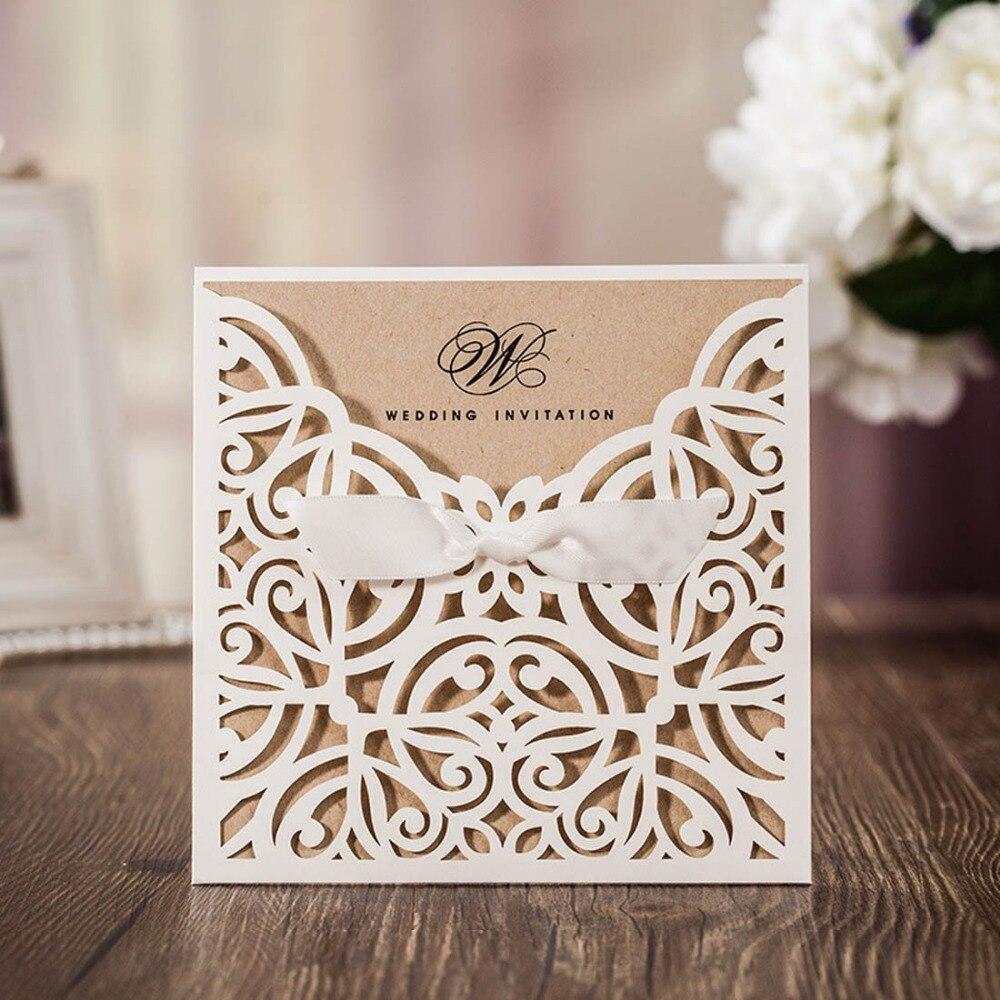 50 ピース/ロットためちょうとリボンアイボリーレーザーカット結婚式の招待状カード結婚誕生日パーティー、カスタマイズ可能な CW6179W  グループ上の ホーム&ガーデン からの カード & 招待状 の中 1