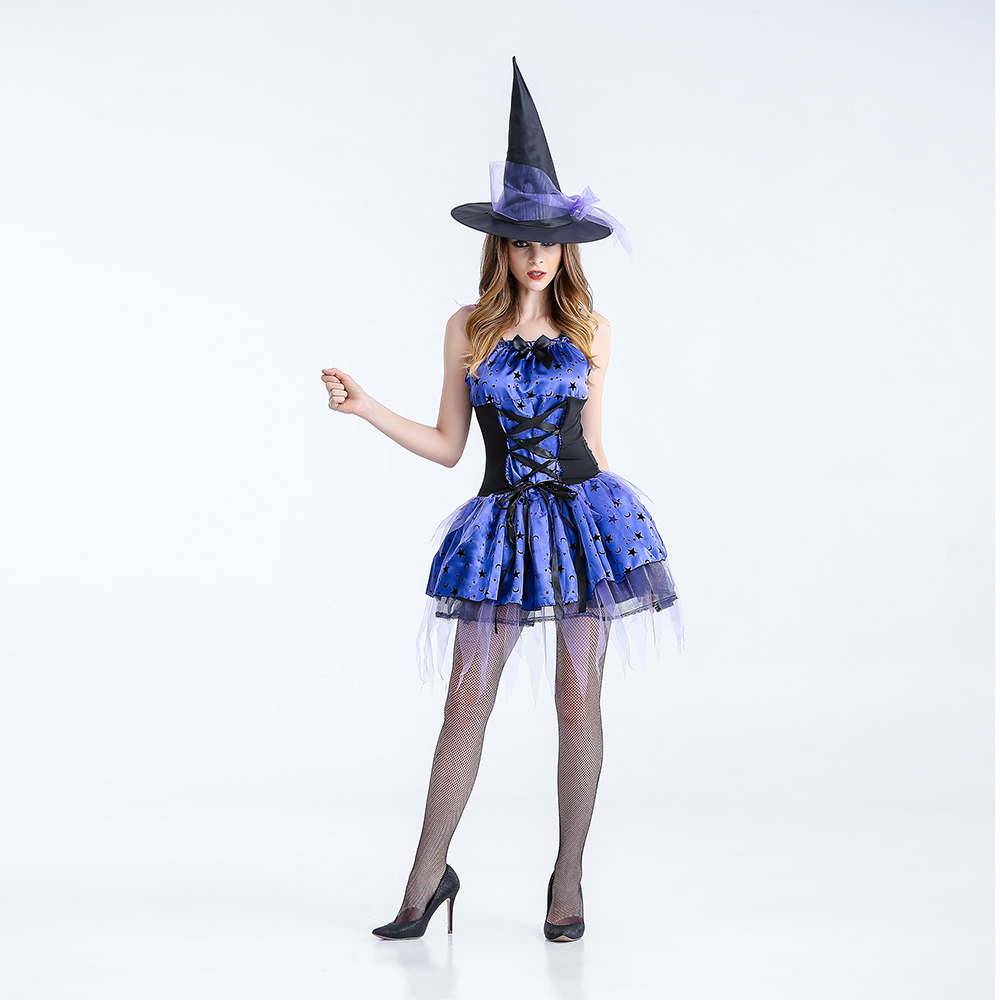 VASHEJIANG Adult Gothic Witch Costume Sexy Womens Magic Moment Costume Adult Flying witch Cosplay costumes Halloween Fancy Dress