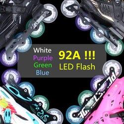 Nova chegada! 92a super brilho led flash roda para patins inline 80mm 76mm 72mm rolo patinação rodas ímã núcleo pçs/lote