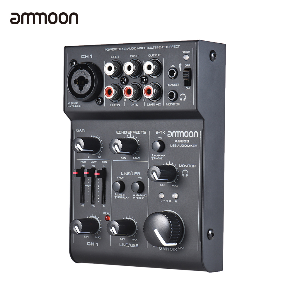 ammoon AGE03 5 Channel Mic Line Mixing Console Mixer with USB Audio Interface Built in Echo