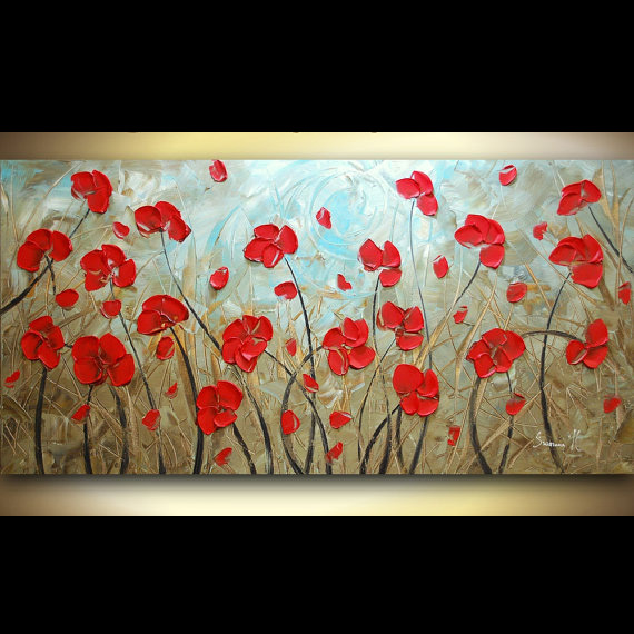 Hand Painted Landscape High Quality Red Poppies Palette