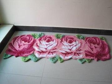 4 Rose Carpet Floor Mat Handmade Rug Anti Slip Modern Carpet Kitchen Area  Rugs,