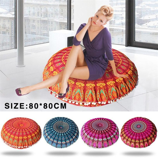 80*80 cm sofa decorative cushions Mandala Floor Pillow Round Bohemian Meditation Cushion Ottoman Pouf pillow C0501