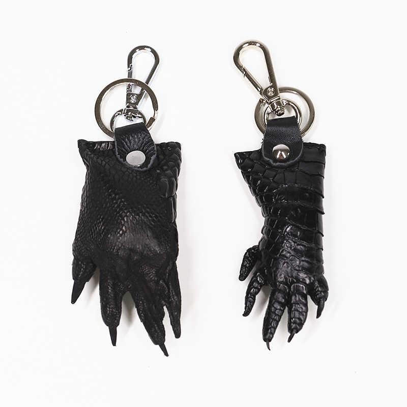 Chaveiro de couro genuíno natural verdadeiro crocodilo garra do vintage da forma das mulheres dos homens chave do carro anel de corrente titular pingente chaveiro