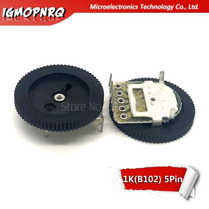 10pcs Double Gear Tuning Potentiometer B102 1K 5Pin 16*2mm Dial Potentiometer