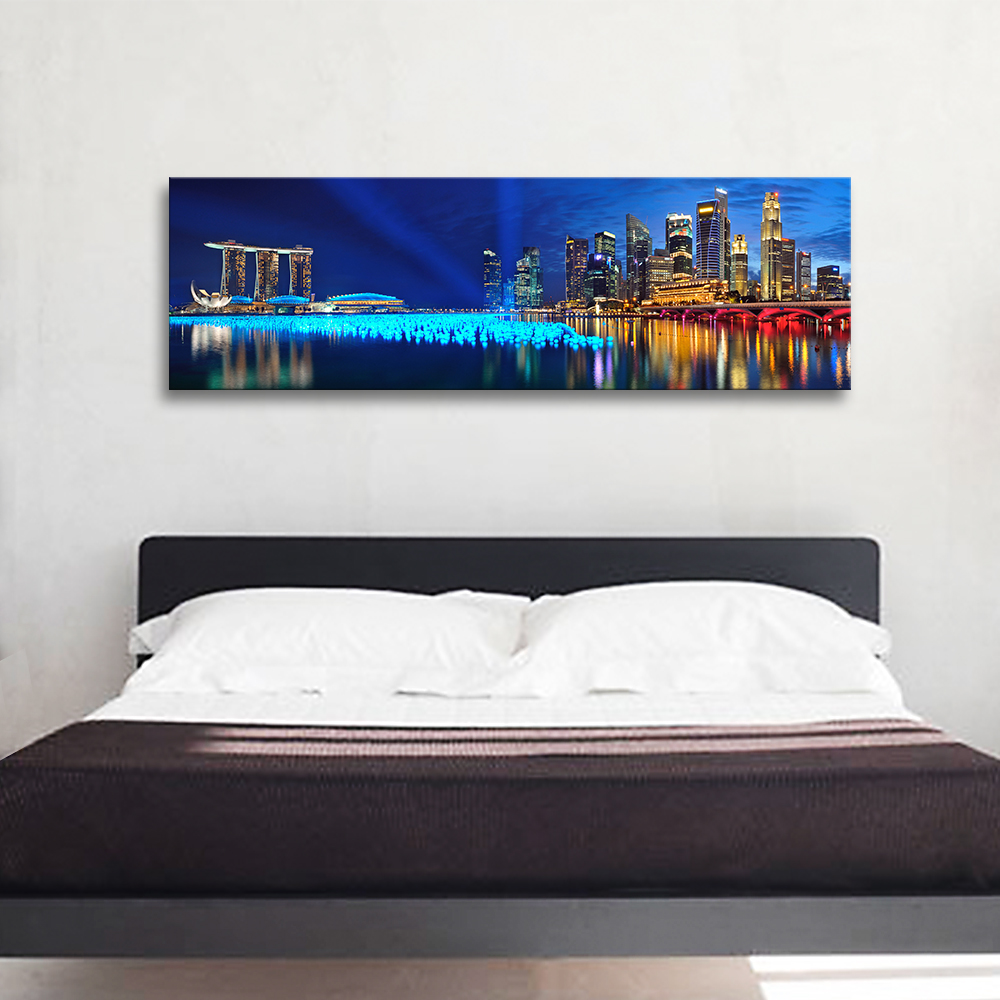 Us 25 98 modern canvas print painting bedroom wall art panoramic landscape picture night view cuadros decoracion photo for living room in painting