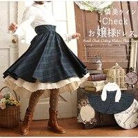 Japan Mori Girl High Waist Fake Two Piece Patchwork Vintage Plaid Dress