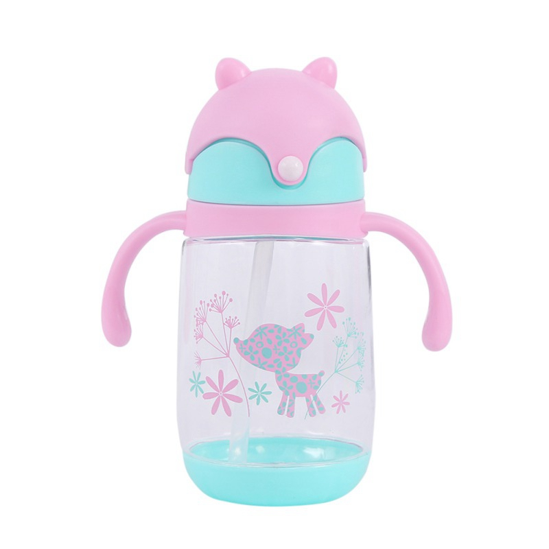 Baby Cup Drinking Water Straw Kids Cartoon Water Bottles Feeding Supplies Children Portable Sports  Bottle Drink Cup 300ML