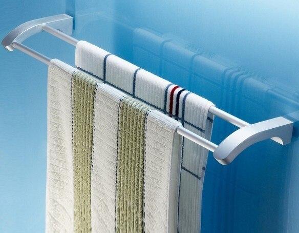 Free shipping Thickening space aluminium double tier towel rack towel bar bathroom shelf wall storage rack bathroom accessories