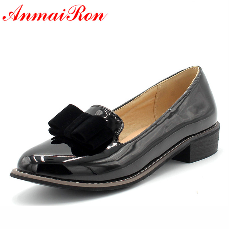 ANMAIRON Spring Autumn Patent Leather Women's Flats Shoes Slip-on Lovely Bowtie Loafers Shoes Woman Black Red Blue Ladies Shoes цены онлайн