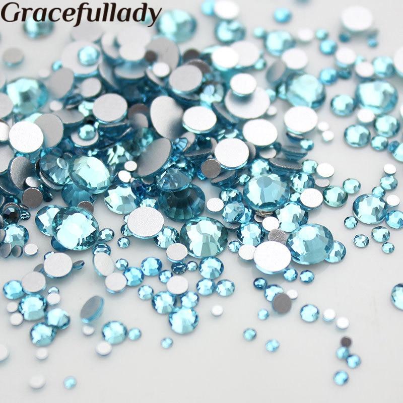 Mix sizes 1000pcs Aquamarin Nail Art Rhinestone glass flatback Non Hot-Fix Rhinestones glue on Crystal for nails decorations high quality 1000pcs mix sizes crystal