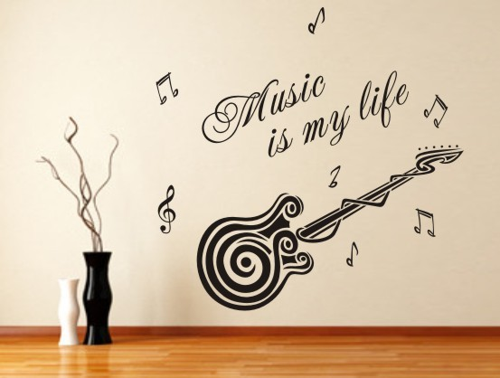 Wholesale Guitar Wall Sticker Music Is My Life Quotes Vinyl Art