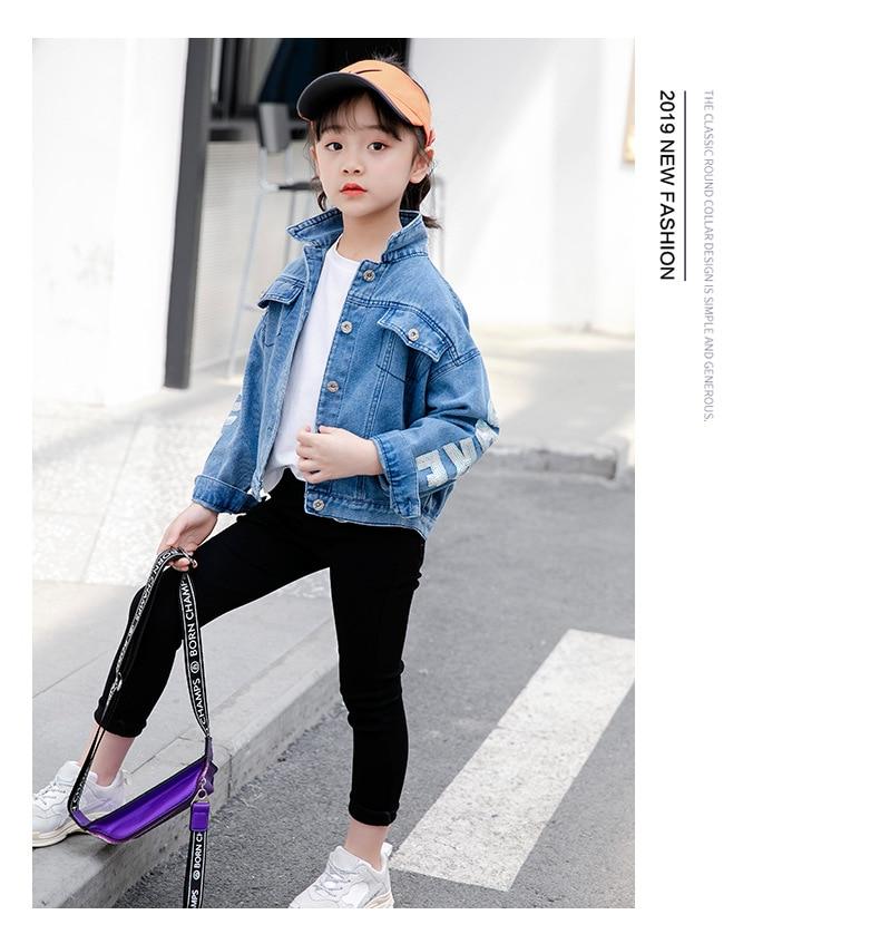 roupas outerwear jean jaquetas casacos criança meninas