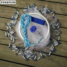 Finefish حلقة من الألومنيوم USA يلقي شبكات 2.4 m 4.8 m سهلة رمي يطير الصيد صافي أداة صغيرة شبكة في الهواء الطلق اليد رمي الصيد الأسماك شبكة