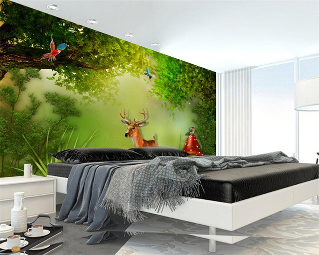 beibehang custom 3d wallpaper fantasy forest elk landscape. Black Bedroom Furniture Sets. Home Design Ideas