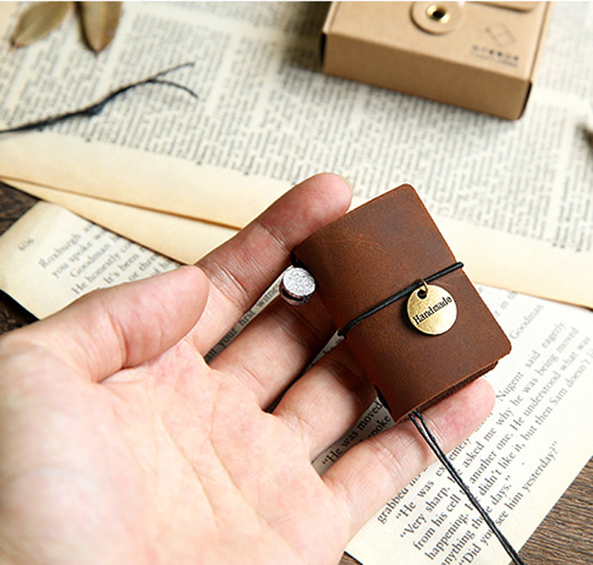 super small Mini size Blank Diaries Journals notebook note book vintage simple genuine leather gift interesting gift funny gift