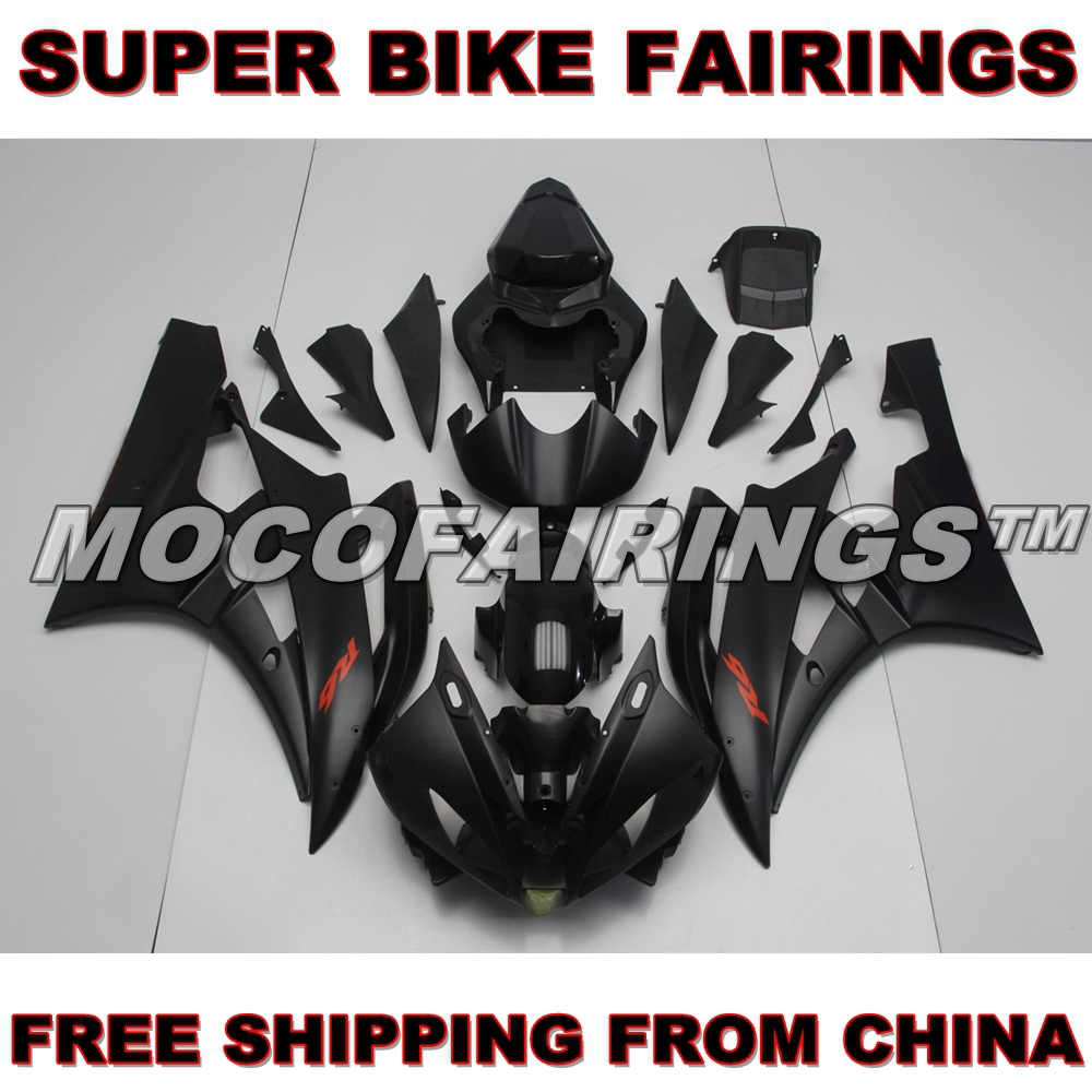 2006 2007 YZF R6 Motorcycle 100% Virgin ABS Plastic Injection Fairing Kits For Yamaha YZF-R6 06 07 Fairings MATTE BLACK protective tpu pvc case w pet screen protector for samsung galaxy note 10 1 2014 edition p600