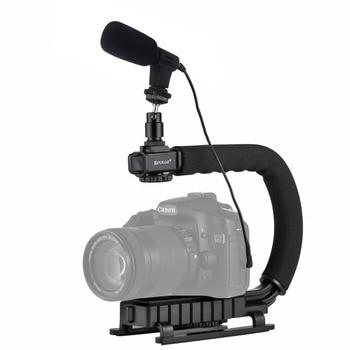 PULUZ U/C Shape Portable Handheld DV Bracket Stabilizer Video Microphone Kit with Cold Shoe Tripod Head for All SLR camera