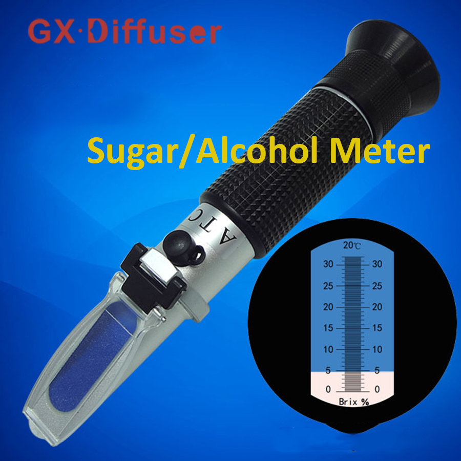 Refractometer Brix Sugar Wort Honey 0-32% ATC Refratometro Tester Hand-held Portable Meter Mreaure Tool GX Diffuser portable sugar beer brix refractometer optical refratometro 0 32% brix tester build in atc with retail box