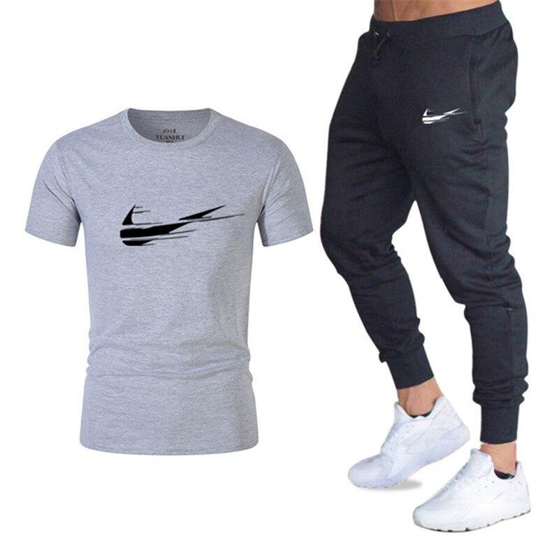 78850c2c2ea 2019 летняя новая мужская футболка спортивный костюм Повседневная рубашка Спортивная  одежда Мужская футболка Топы + брюки мужские брендовые .