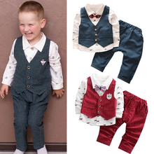 купить Children clothes Set Spring Autumn Baby Boys outfits 3Pcs Jacket+T-shirt+pants set kids Fashion toddler gentleman Clothes Suit онлайн