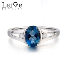 Leige Jewelry Cocktail Party Ring London Blue Topaz Ring Oval Cut Gemstone November Birthstone Solid 925 Sterling Silver Ring
