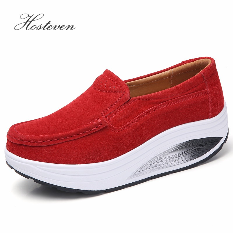 Hosteven Women Shoes Sneaker Flat Platform Moccasins Loafers Boat Cow   Suede     Leather   Spring Autumn Female Ladies Shoes