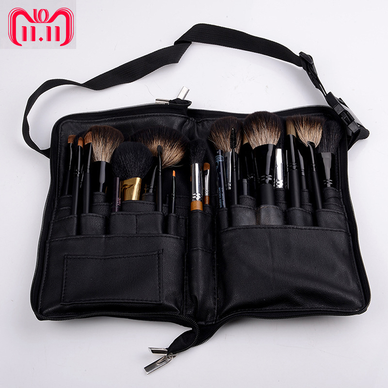 Black 32 Pockets Makeup Brush Holder Case Bag Zipper Artist Belt Strap Cosmetic Brush Makeup Brushes PU Holder Apron Bags колонка microlab md310bt black