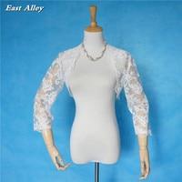 2018 New High Quality Lace Jacket 3/4 Sleeves Wedding Bridal Boleros Shrug Wrap Coat