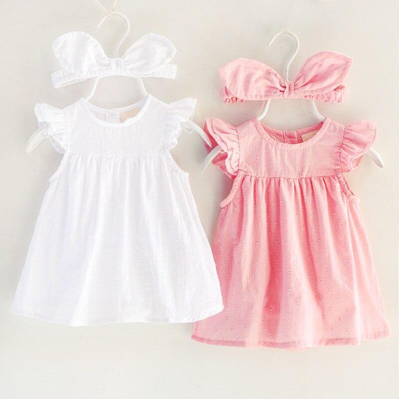 Ruffle Sleeves Baby Girl Dress Summer Infant Party Birthday Dresses Princess Girls Clothing Sets Rabbits Ears Headband