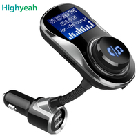 Wireless FM Modulator Car Radio Kits Handsfree Bluetooth FM Transmitter Car MP3 Player 5V 3.4A 2 USB Charger with TF Card Slot
