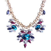 Best Lady Chunky Gem Crystal Flower Statement Unique Starburst Pendant Rhinestone Luxury Choker Necklace For Woman Jewelry
