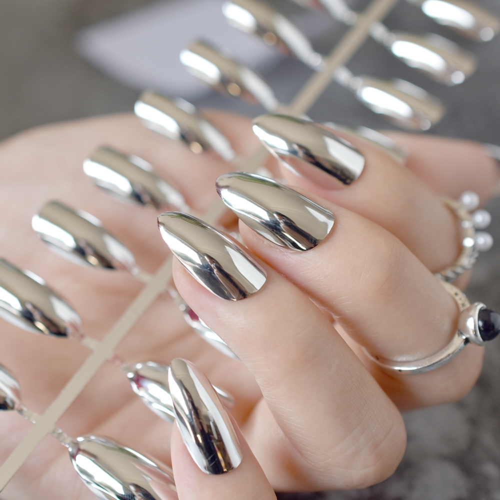 Artificial Nail Tips Health & Beauty Silver False Nails Stiletto Metallic Shiny Bling Fake Nail Tips Mirror Chrome