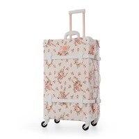 22 24 26 Спиннер колеса ретро искусственная кожа цветочный чемодан для женщин багажник TSA винтажный Багаж прокатки носить на чемодан для дево