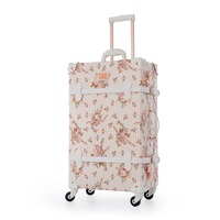 22 24 26 Spinner Wheels Retro Pu Leather Floral Suitcase Women Trunk TSA Vintage Luggage Rolling Carry On Suitcase for Girls