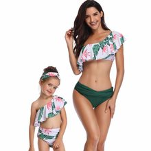 mother daughter bikini bath swimsuit family look mommy and me swimwear clothes family matching outfits mom baby dresses clothing(China)