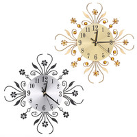 2017 New Modern Metal Large Wall Clocks Flower Diamond Rhinestone Silent Home Decor DIY Living Room
