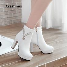Cresfimix ocasional das mulheres de alta qualidade botas de couro pu botas de salto alto botas femininas senhora fresco lazer plus size branco a2338