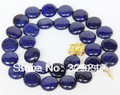 002835 Genuine 14mm round coin Lapis Lazuli necklace