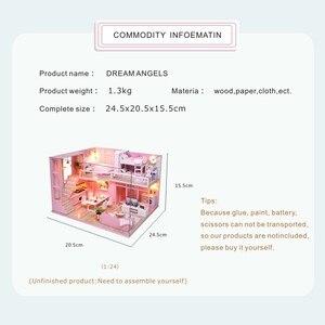 Image 3 - Casa de boneca diy casas de bonecas de madeira em miniatura kit de móveis brinquedos casa para crianças presente natal l026