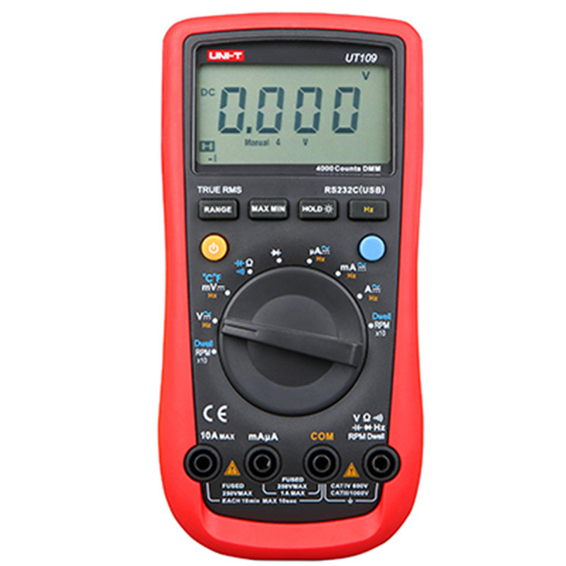 UNI-T UT109 LCD multimeter digital multimeter auto range capacitance AC/DC voltage current temperature multimeter tester high quality original uni t ut109 ac dc current resistance diode tester digital clamp meter ut109 new diagnostic tools ut109