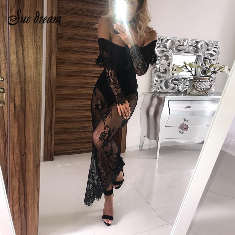 Detail Feedback Questions about 2017 Autumn new women long sleeve slash  neck dress mesh sexy bodycon tassel celebrity party black white pink dresses  ... f95169f9a9e8