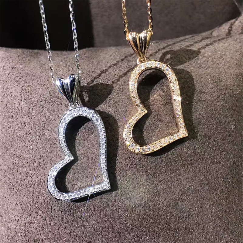 LASAMERO Heart Halo 0.13 CT Round Cut Pave Set 18k Gold Natural Diamond Pendant Necklace jinhui 18k 750 0 05 ct jh bs1380