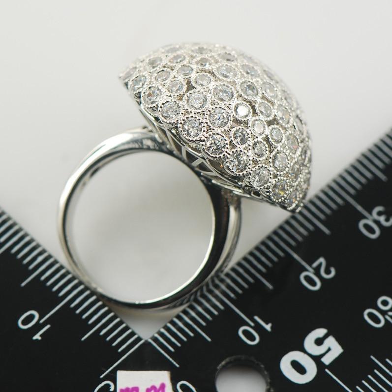 Micropave cristal Zircon cristal blanc Zircon 925 bague en argent Sterling taille 6 7 8 9 10 11 A02 - 4