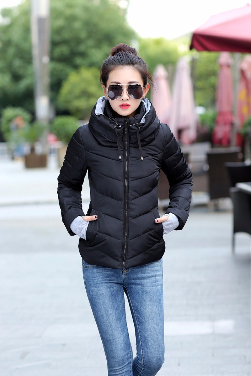 Winter Jacket Women Parkas Thicken Outerwear solid hooded Coats Short 19
