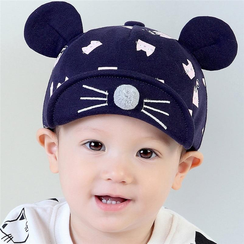 2017 New Fashion Children clothing Newborn Baby Girls Boys Kids Toddler Cartoon Cat Print Cap Spring Autumn Caps Soft Hat Hats